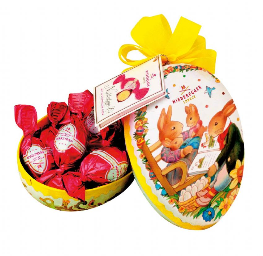 Paper Easter Egg Gift Box With Mini Easter Eggs Dark Chocolate Niederegger Marzipan 100g